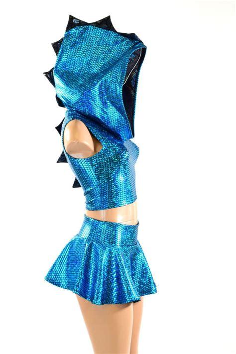 aquamarine black spiked dragon hoodie crop mini skirt set