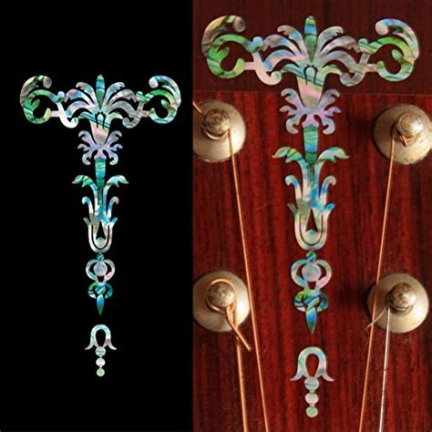 Inlay Stiker Headstock Gitar Torch Abalone Blue inlay sticker decal guitar headstock in abalone theme
