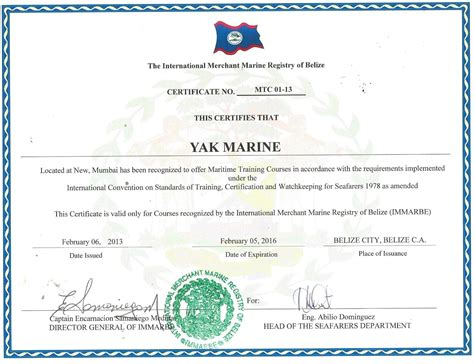 Certificate of Competency ( Belize COC )