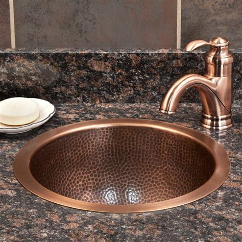 "14"" Baina Extra Deep Round Hammered Copper Sink   Bathroom"