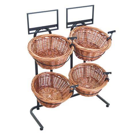 basket display rack 31 quot h 2 tier 4 round willow basket and floor stand display rack