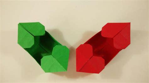 San Origami - como hacer una caja de papel con dos corazones origami