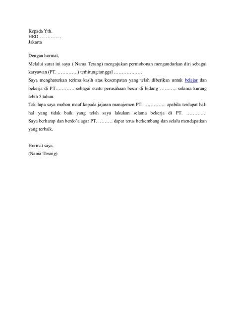 contoh surat pengunduran diri kerja tanpa alasan 28 images contoh