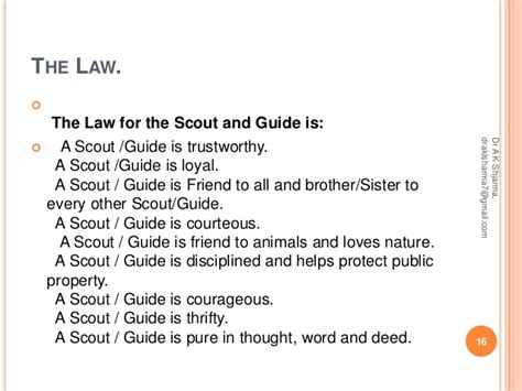 the laws guide to scouts guides activities in kvs