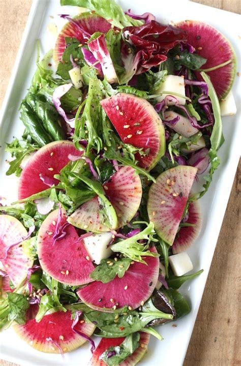 radish salad recipe watermelon radish holiday salad with asian citrus dressing