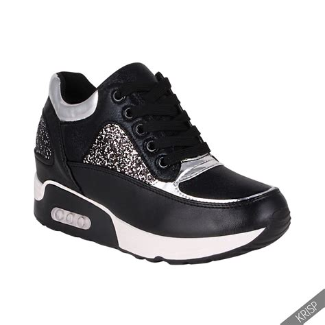 womens glitter fashion air shock wedge trainers
