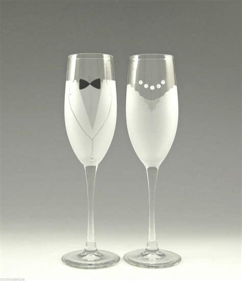 braut mit brille asta hand etched bride groom chagne glass wedding