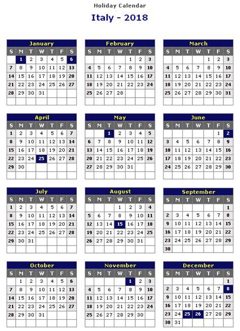 Calendar 2018 Italy Italy 2018 Printable Calendar 171 Printable Hub