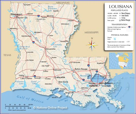 louisiana and map reference map of louisiana usa nations project