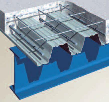 Permanent formwork profiled steel sheet / concrete floor