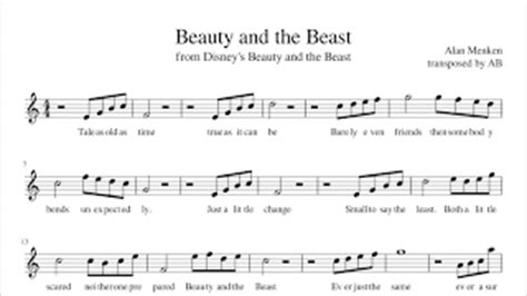 beauty and the beast theme song mp3 download sheet music video