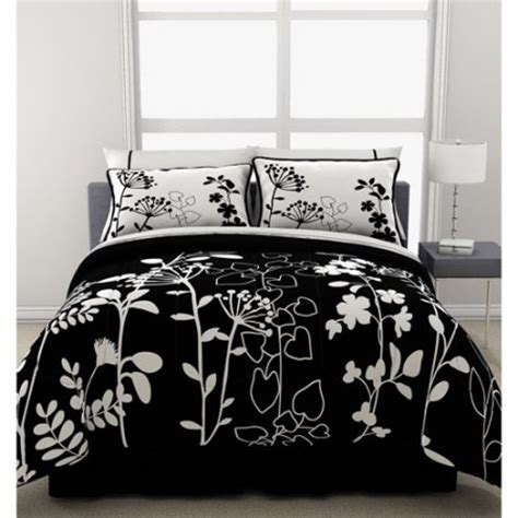 Black Floral Bedding Sets Formula Botanica Reversible Bed In A Bag Black And White Floral Print Walmart