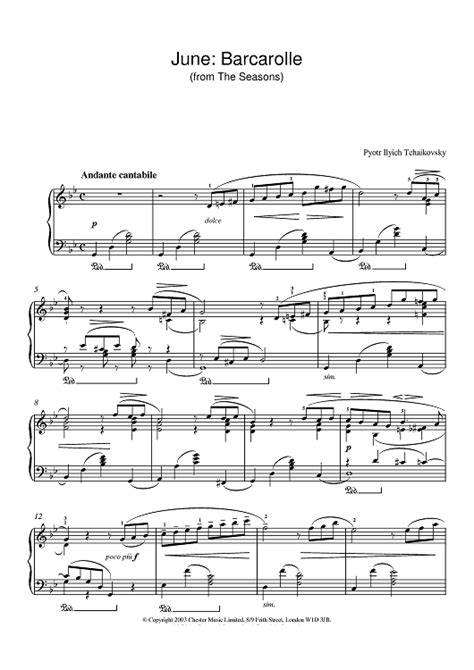 barcarolle tchaikovsky june barcarolle from the seasons sheet music for