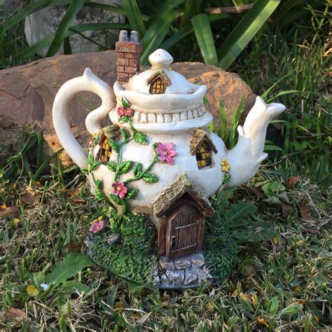 Solar Garden Ornaments Outdoor Decor Tea Pot Solar House Powered Goblin