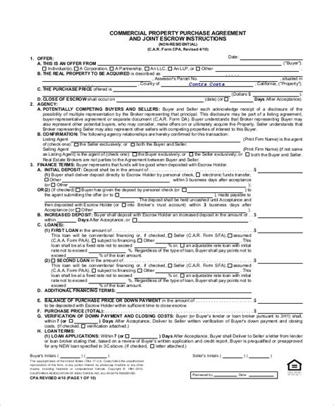 property purchase agreement template sle commercial purchase agreement 7 exles in pdf