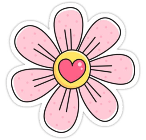Large Tree Wall Sticker quot pink flower with heart cute floral illustration sticker
