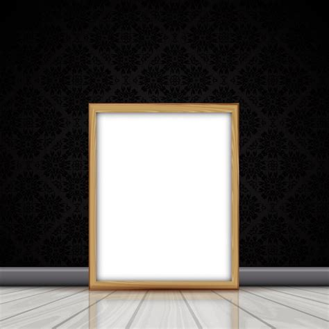 frame pattern on wall blank picture with wooden frame leaning against a wall