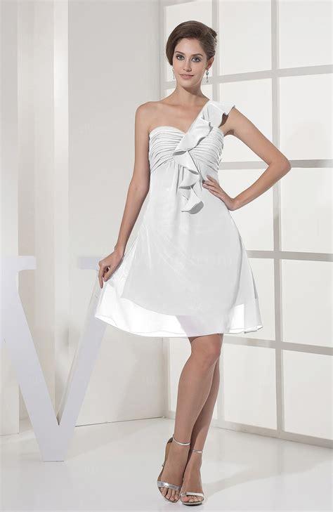 casual a line one shoulder knee length white chiffon party dress cokm14005 white casual a line sleeveless zipper chiffon knee length