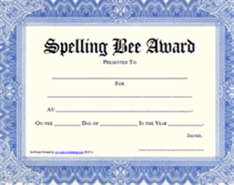 free spelling bee certificate new calendar template site