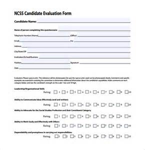 candidate evaluation template sle candidate evaluation form 9 free documents