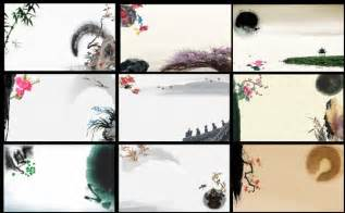 traditional ink painting psd background material over