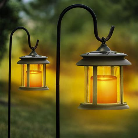 Outdoor Solar Candle Lights Flicker Candle Solar Powered Led Lights 2 Pack Ebay