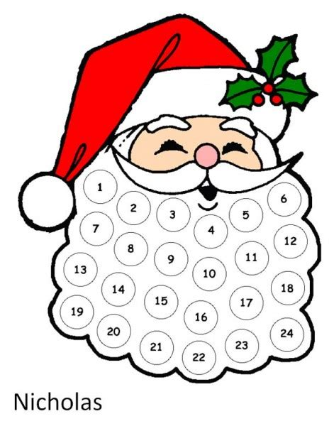 printable christmas countdown christmas craft santa s beard advent calendar the