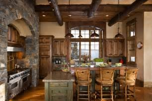 Log Cabin Builders Colorado rustic kitchen with flat panel cabinets amp l shaped