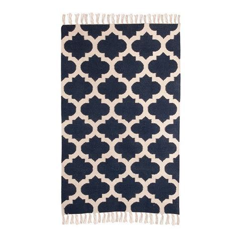 geometric wool rug navy by jones vintage