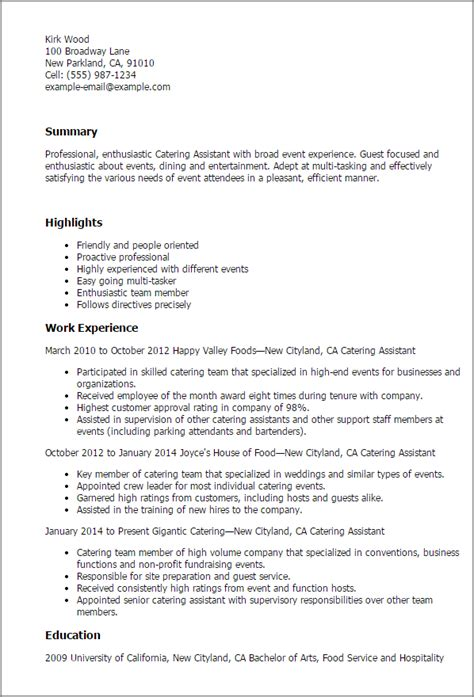 Catering Event Planning Resume by 1 Catering Assistant Resume Templates Try Them Now