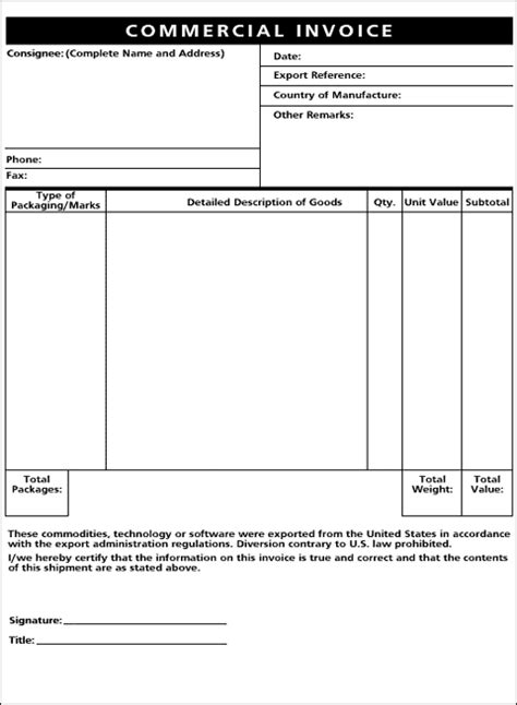 international commercial invoice template international commercial invoice template