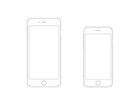 free iphone 6 plus and iphone 6 wireframe vector titanui