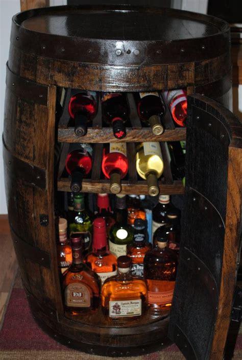 wine barrel liquor cabinet whiskey barrel liquor cabinet w lazy susan built in wine