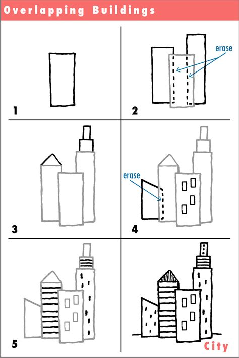 easy to draw architecture draw drawing simple city overlapping pencil activity