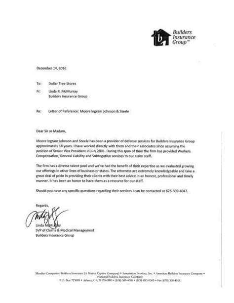 Letter Of Recommendation Builder mijs letter of recommendation from builders insurance