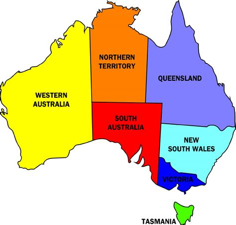 states in australia map australia political map