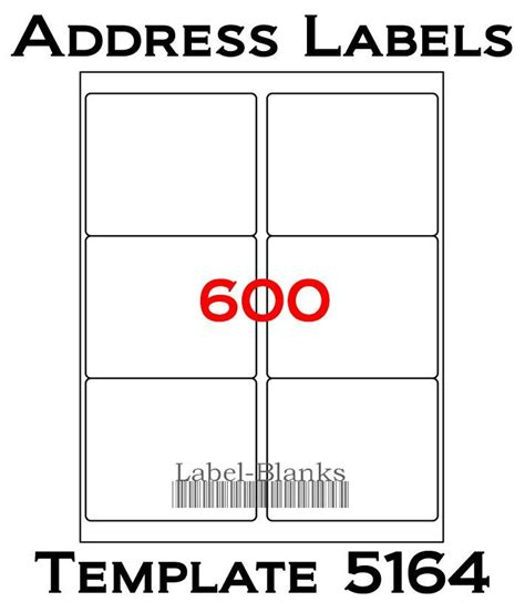 avery 5164 template word 4 x3 1 3 laser ink jet labels 600 labels compatible w size 5164 100 sheets ebay
