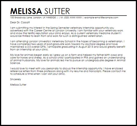 Thank You Letter For Veterinary School Veterinary Internship Letter Of Intent Livecareer