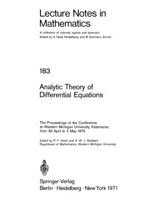 lecture format djvu hsieh p f stoddart a w j eds analytic theory of
