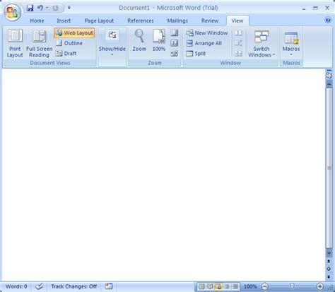 web layout view in ms word word 2007 view modes document view 171 editing 171 microsoft