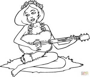 nice girl with guitar coloring online