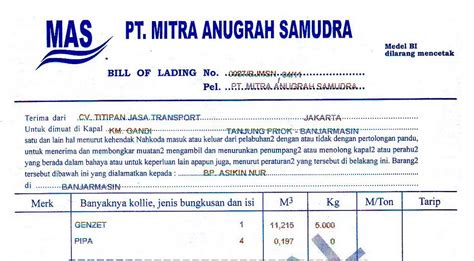 Bank Yang Mengeluarkan Letter Of Credit Pt Titipan Terminal Transport Bill Of Lading Konosemen Domestik