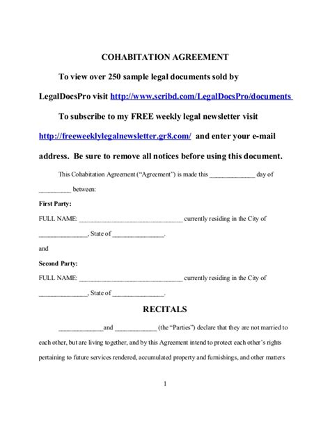 cohabitation contract template sle cohabitation agreement