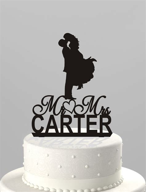 Acrylic Cake Topper Nama wedding cake topper silhouette mr mrs personalized with last name acrylic cake topper