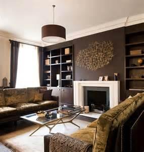 braune wohnzimmer ideen 12 salas modernas con paredes color marr 243 n
