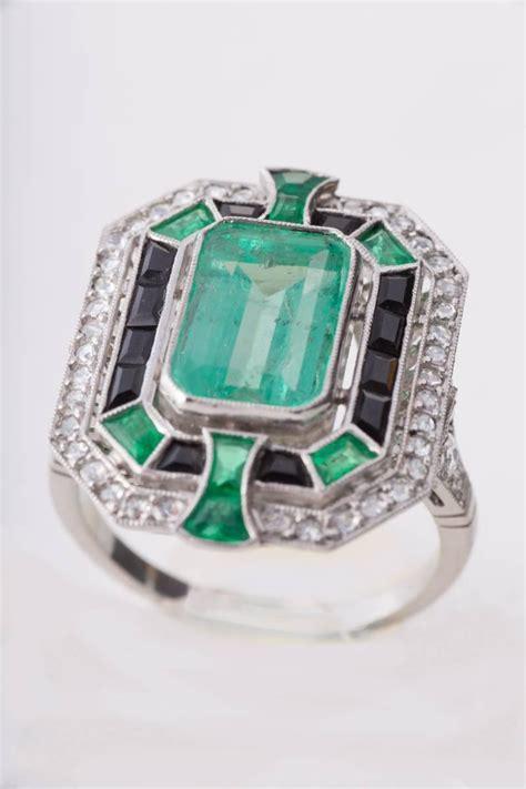 Black 507 Carat emerald black onyx platinum ring at 1stdibs