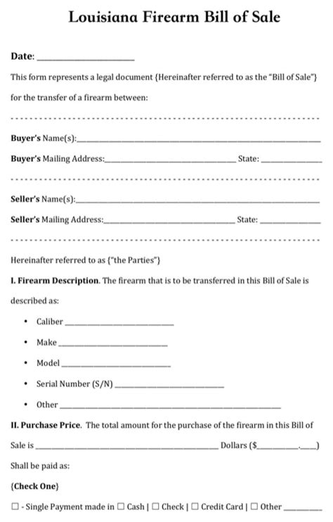 Download Louisiana Bill Of Sale Form For Free Formtemplate Bill Of Sale Louisiana Template