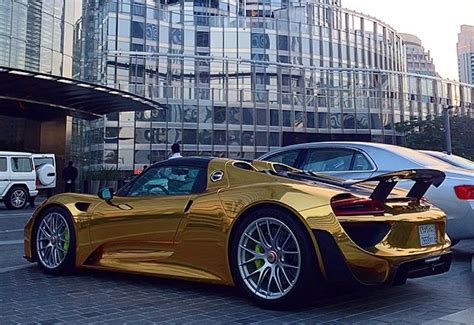 gold porsche 918 s chrome gold wrapped porsche 918 spyder
