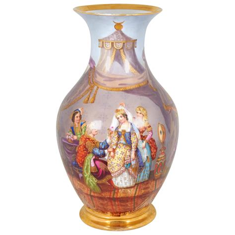 Turkish Vase porcelain painted porcelain vase for the turkish ottoman market for sale at 1stdibs