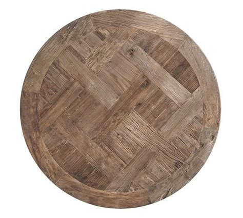 Parquet Reclaimed Wood Round Coffee Table Pottery Barn Reclaimed Barn Wood Coffee Table